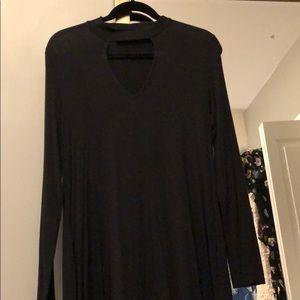 LUSH High-Neck Cut-Out Black Dress